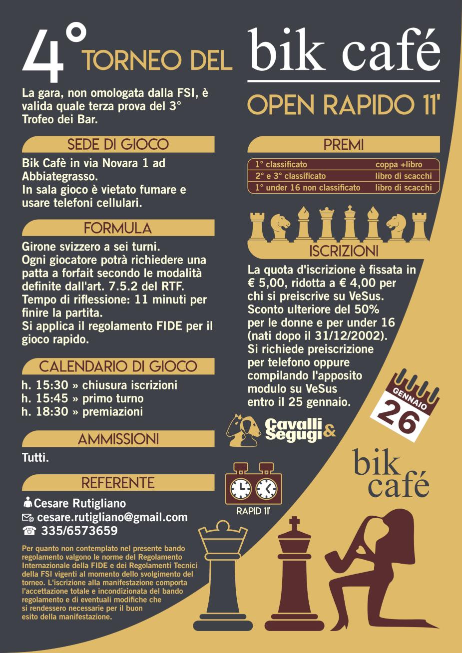 Fsi Scacchi Calendario.4 Torneo Del Bik Cafe